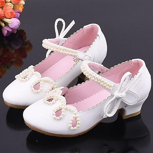 Девочки Детская праздничная обувь Полиуретан Обувь на каблуках Маленькие дети (4-7 лет) Белый / Розовый Лето фото