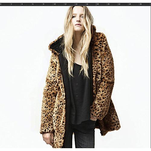 Женская повседневная осенняя и зимняя куртка из искусственного меха, леопардовый с капюшоном с длинным рукавом из искусственного меха коричневого цвета фото