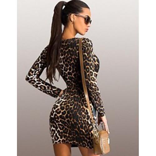 lightinthebox / Mulheres Básico Tubinho Vestido - Estampado, Leopardo Mini