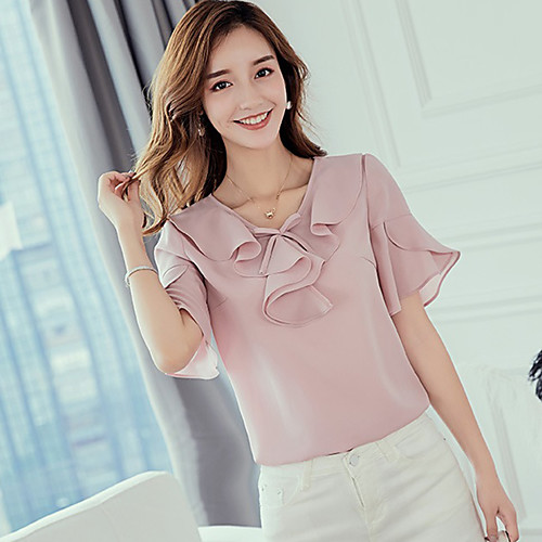 lightinthebox / Mulheres Blusa Estampado, Sólido Rosa