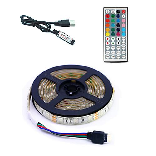 5 метров Гибкие светодиодные ленты / RGB ленты / Пульты управления 300 светодиоды SMD5050 1 пульт дистанционного управления 44Keys Разные цвета USB / Для вечеринок / Декоративная 5 V 1 комплект фото