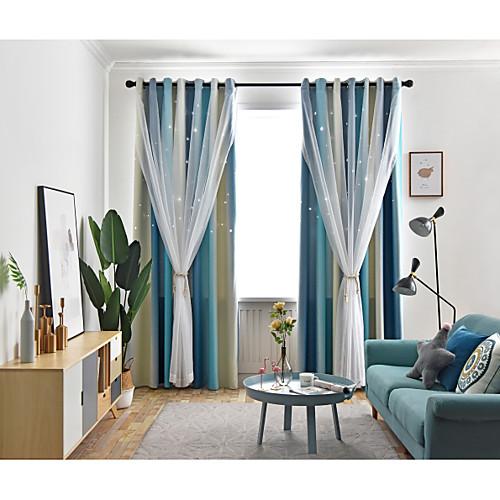 Две панели корейский стиль свежий стиль выдолбленные звезды плотные шторы гостиная спальня детская комната шторы фото