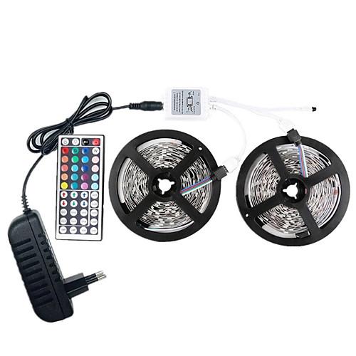 Светодиодные фонари 12v smd 5050 rgb 10m светодиодные ленты светодиодные ленты многоцветные с дистанционным управлением с 44 клавишами 300 светодиодных не водонепроницаемых световых полос с драйвером фото