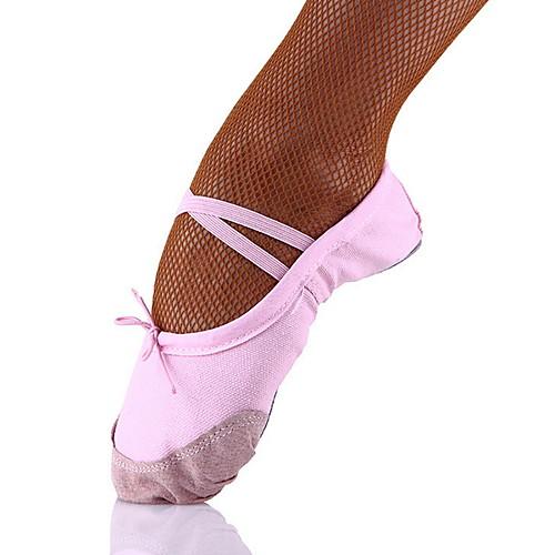 Девочки Танцевальная обувь Полотно Обувь для балета На плоской подошве На плоской подошве Черный / Телесный / Красный фото