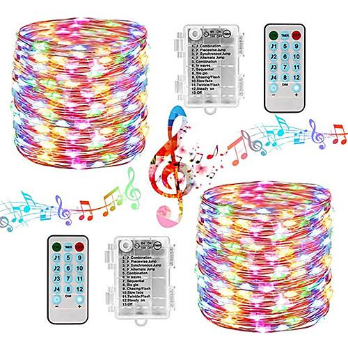 200 светодиодных сказочных огней - звуковые лампы на батарейках - 2 комплекта водостойких сказочных огней с дистанционным таймером для спальни, свадебного фестиваля, в помещении, на открытом воздухе фото