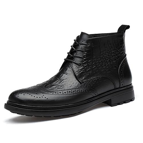 Муж. Армейские ботинки Наппа Leather Зима / Наступила зима Винтаж / На каждый день Ботинки Сохраняет тепло Ботинки Черный фото