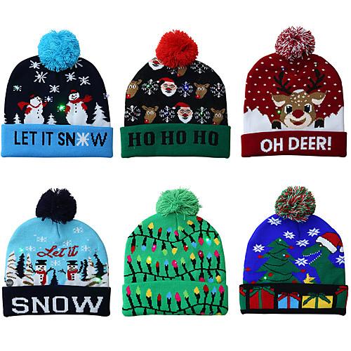 Вязаная новогодняя шапка светодиодная теплая защитная шапка красивая круто классика романтика рождественский подарок атмосфера фото