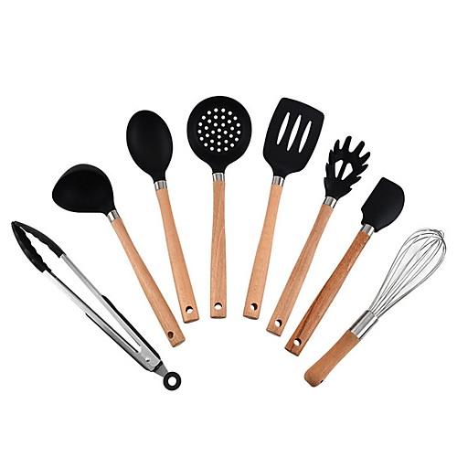 кухонная утварь из силикона высшего качества Набор посуды из 8 предметов с бамбуковыми деревянными ручками для посуды с антипригарным покрытием, в комплекте держатель для посуды