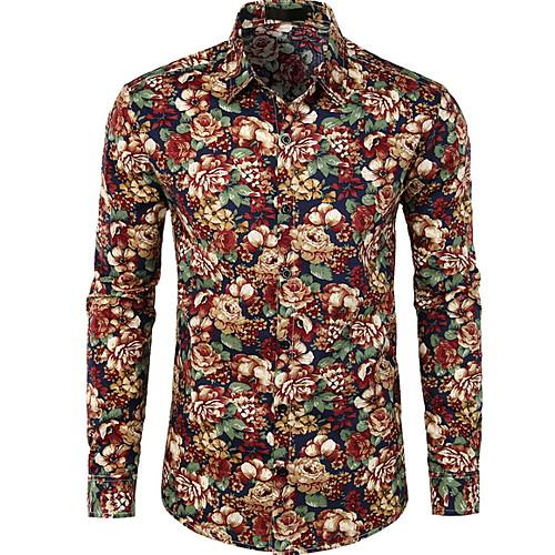 Муж. Рубашка Цветочный принт Черный фото