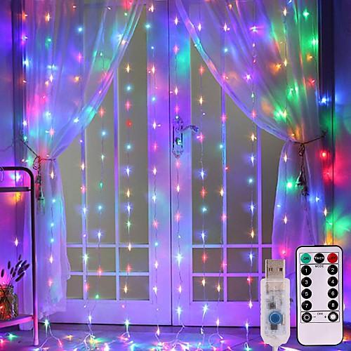 3x3 м 300 светодиодный медный провод сосулька занавес фары usb с дистанционным гирлянда фея строка для свадьбы занавес декора фото