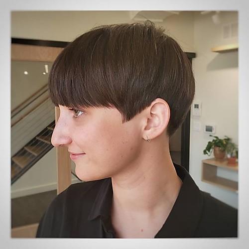 Человеческие волосы без парики Натуральные волосы Прямой / Естественный прямой Стрижка боб / Стрижка под мальчика / Стрижка каскад / Ассиметричная стрижка Стиль Cool / Удобный / Природные волосы фото