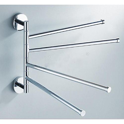 Поворотный вешалка для полотенец из нержавеющей стали, 4 ручки для ванной, качели, вешалка для полотенец, держатель для хранения, органайзер, экономия места, настенное крепление, матовая отделка фото