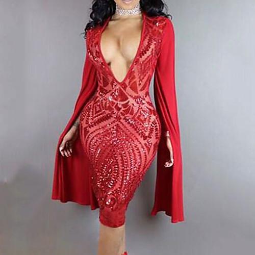 lightinthebox / Ropa de baile exotico Vestido Lentejuela Mujer Entrenamiento Rendimiento Manga Larga Cintura Alta Poliéster
