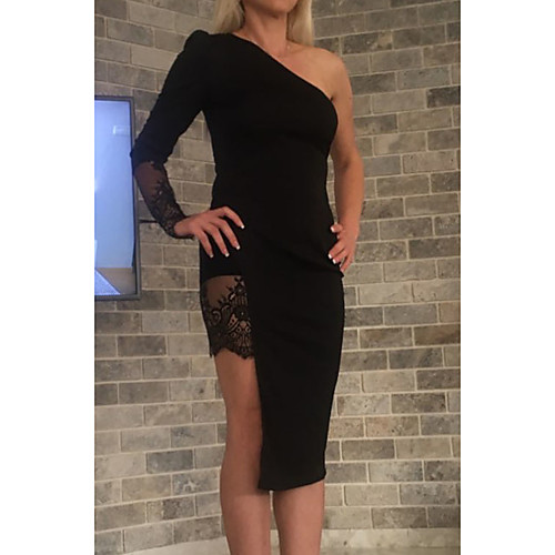 lightinthebox / Mujer Negro Vestido Corte Bodycon Un Color Un Hombro S M