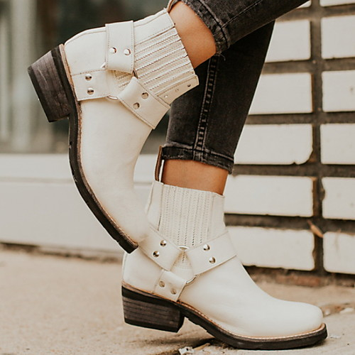 lightinthebox / Mulheres Botas Cowboy / Western Boots Salto Robusto Ponta Redonda Couro Ecológico Botas Curtas / Ankle Inverno Preto / Marron / Branco