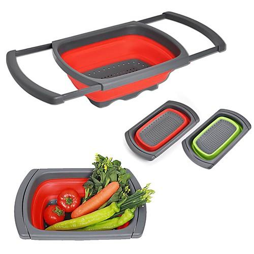 Складной масштабируемый силиконовый дуршлаг складной кухонный силиконовый фильтр фрукты растительное мыть дуршлаг кухня инструменты для приготовления пищи фото