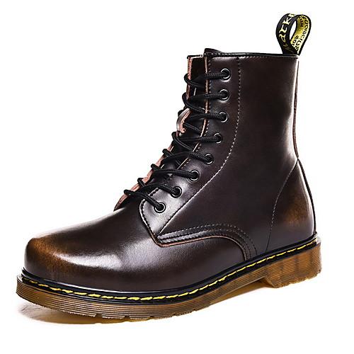 Муж. Армейские ботинки Кожа Зима Ботинки Ботинки Черный / Коричневый / Красный фото