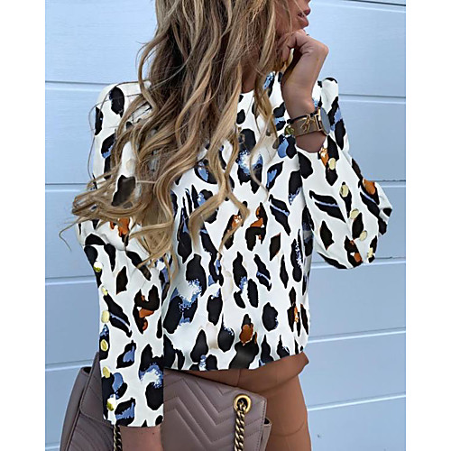 Жен. Рубашка Классический Леопард Черный фото