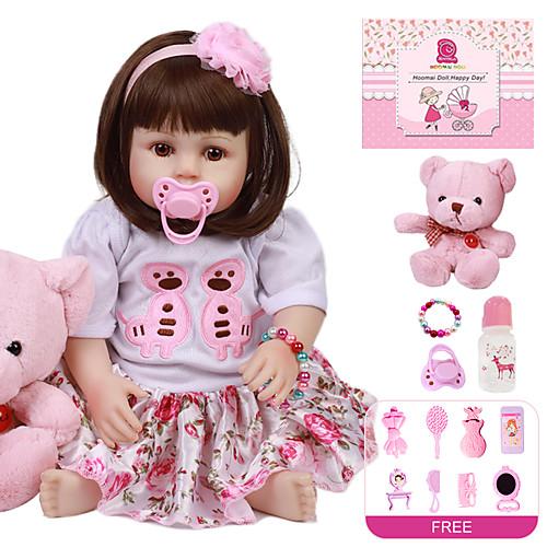 Куклы реборн Девочки 18 дюймовый Полный силикон для тела - Дети / подростки Детские Девочки Игрушки Подарок фото