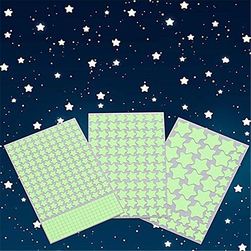 Светящиеся в темноте звезды стикеры на стену светящиеся звезды для потолка и наклейки на стены 3d светящиеся звезды, за исключением луны идеально подходит для детской комнаты или вечеринки подарок на фото