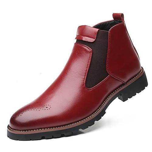 Муж. Кожаные ботинки Кожа Весна лето / Наступила зима Деловые / На каждый день Ботинки Дышащий Ботинки Черный / Желтый / Красный фото