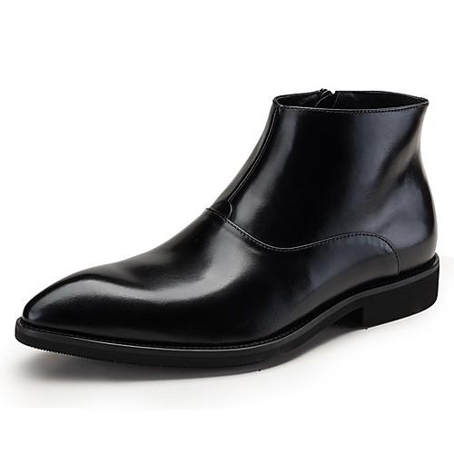 Муж. Fashion Boots Наппа Leather Зима / Наступила зима Классика / Английский Ботинки Сохраняет тепло Ботинки Черный / Винный / Для вечеринки / ужина фото