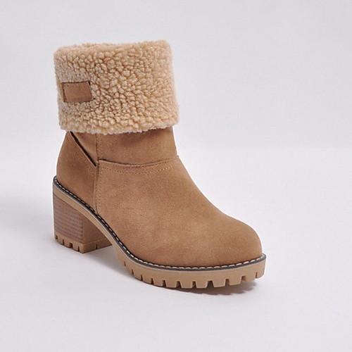 Жен. Ботинки На толстом каблуке Круглый носок Замша Ботинки Зима Черный / Оранжевый / Зеленый фото