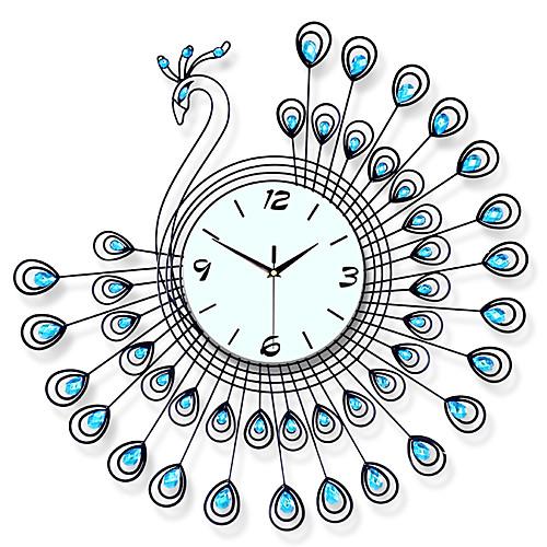 Большие павлин настенные часы современный дизайн домашнего декора настенные часы гостиная спальня немой часы настенные металлические цифровые настенные часы фото