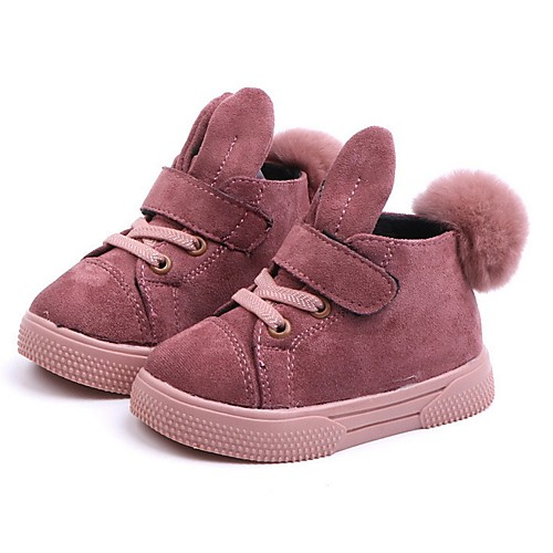 Девочки Удобная обувь Синтетика Ботинки Маленькие дети (4-7 лет) Черный / Розовый Осень фото