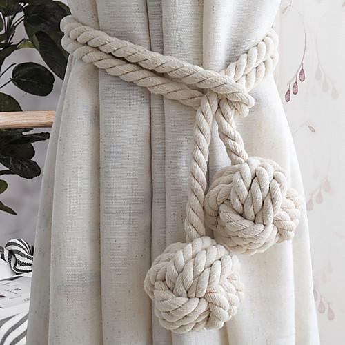 1 пара ручной вязаные занавески веревка страна хлопок галстук окно ажурный шар ручной работы тканый хлопок галстук ремешок висит шар фото