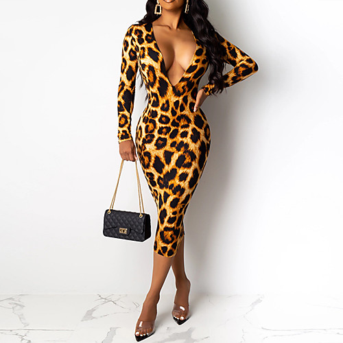 lightinthebox / Mujer Chic de Calle Elegante Corte Bodycon Vaina Vestido - Estampado, Geométrico Leopardo Midi