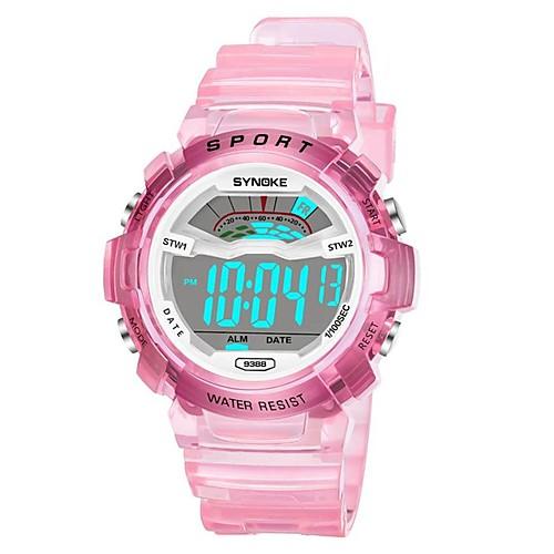 SYNOKE электронные часы Цифровой Спортивные Стильные силиконовый 30 m Защита от влаги Календарь ЖК экран Цифровой На открытом воздухе Мода - Белый Синий Розовый фото