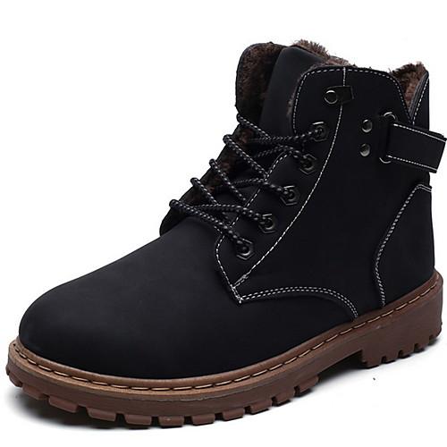 Муж. Армейские ботинки Кожа Наступила зима Ботинки Сапоги до середины икры Черный / Коричневый / Хаки фото