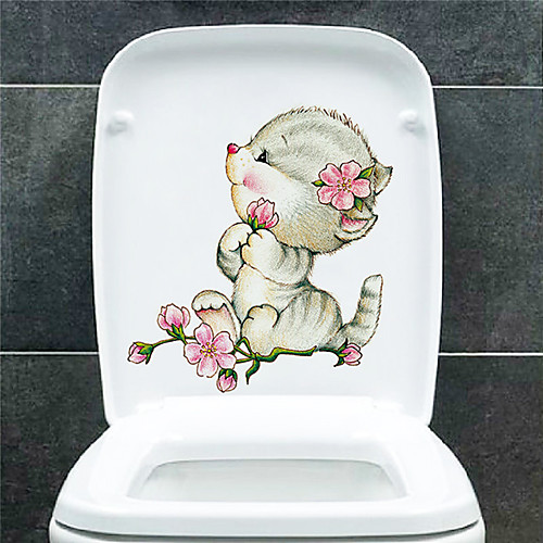 Милые стикеры туалета животных - наклейки на стену животных ванная комната / детская комната фото