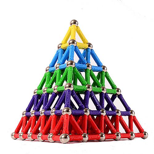 84 pcs 5mm Магнитные игрушки Магнитный конструктор Магнитные палочки Магнитные плитки Конструкторы Обучающая игрушка пластик Магнит Магнитный Пирамида Детские / Взрослые Универсальные Мальчики Девочки фото