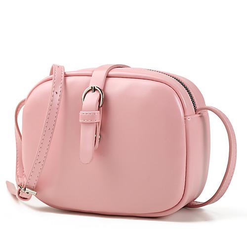 Жен. Молнии PU Сумочка через плечо Сплошной цвет Черный / Коричневый / Розовый фото