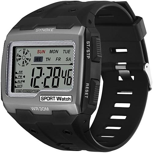 SYNOKE электронные часы Цифровой Спортивные Стильные силиконовый 30 m Защита от влаги Календарь ЖК экран Цифровой На открытом воздухе Мода - Черный Черный / Синий Черный / Золотистый фото