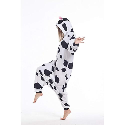 lightinthebox / Adulto Pijamas Kigurumi vaca Animal Pijamas Macacão Lã Polar Branco Cosplay Para Homens e Mulheres Pijamas Animais desenho animado Festival / Celebração Fantasias / Collant / Pijama Macacão
