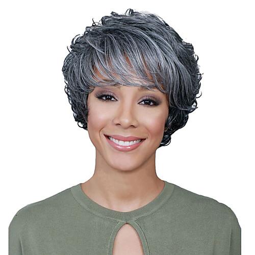 Парики из искусственных волос Кудрявый Ассиметричная стрижка Парик Короткие Серый Искусственные волосы 6 дюймовый Жен. Лучшее качество Серый фото