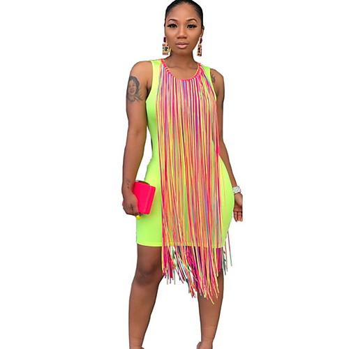 Жен. Облегающий силуэт Платье - Контрастных цветов Выше колена фото