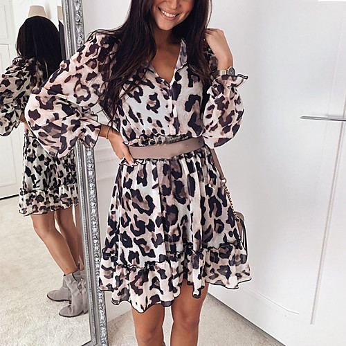 lightinthebox / Mulheres Marron Vestido Evasê Leopardo Decote V S M