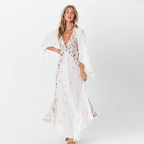 lightinthebox / Mujer Maxi Blanco Negro Vestido Corte Ancho Estampado Escote en V Profunda S M