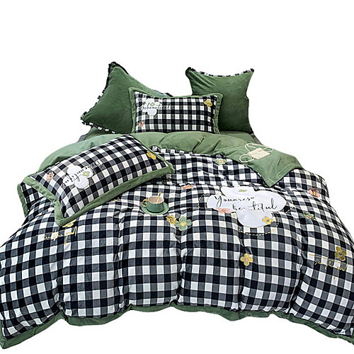 Купить со скидкой Bettbezug-Sets 4 Stück Polyester / Polyamid Cartoon Design Leicht Grün Bedruckt Einfach