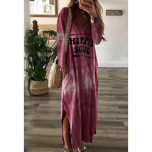 lightinthebox / Mulheres Longo Solto Vestido - Manga Longa Estampado Decote V Solto Rosa Khaki Verde Cinzento S M L XL XXL