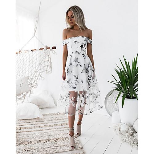 lightinthebox / Mulheres Rosa Branco Vestido Evasê Floral S M