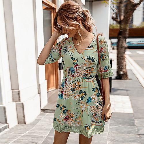 lightinthebox / Vestido estampado floral verão 2020 com decote em v