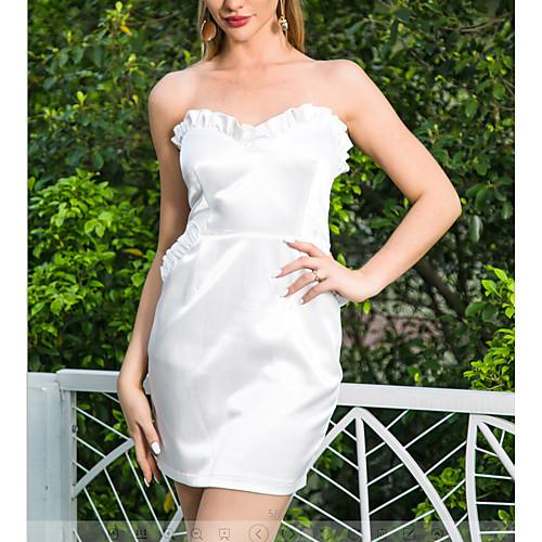 lightinthebox / Cetim quadrado pescoço mini vestido das mulheres fora do ombro plissado bodycon mm0064