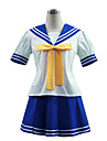 Inspirerad av Lyckliga stjärna Izumi Konata Animé Cosplay Kostymer/Dräkter cosplay Suits / Skoluniformer Lappverk Vit / Blå Kort ärmTopp