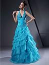 A-line rochie de bal de halat v-gât lungime de podea organza satin rochie de balet cu beading de ts couture®