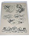 la peau pratiques de tatouage avec des contours de fleurs et de poissons